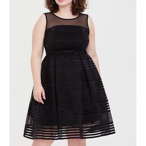 Torrid Black Illusion Shadow Skater Dress, Size 20